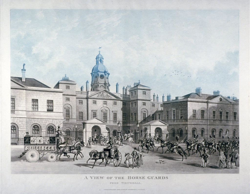 Detail of A view of the Horse Guards from Whitehall, Westminster, London by Anonymous