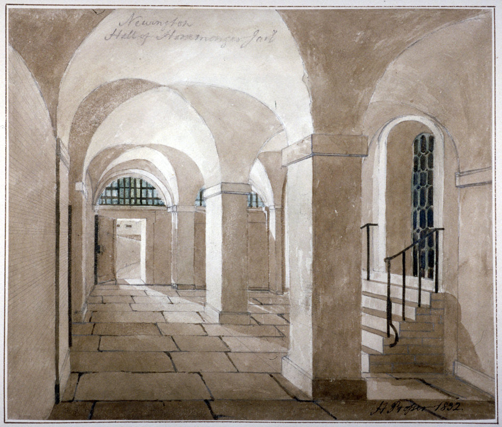 Detail of Interior view of a hall in Horsemonger Lane Prison, Union Road, Southwark, London by G Yates