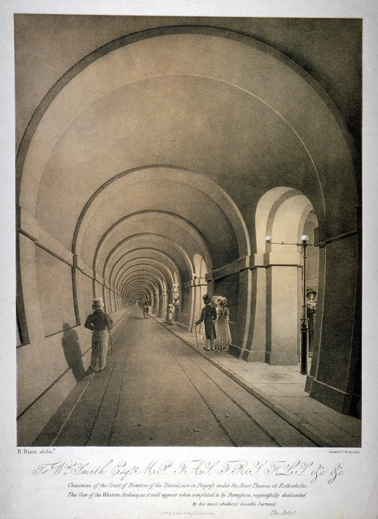 Detail of View of the (proposed) western archway of the Thames Tunnel, London by Anonymous