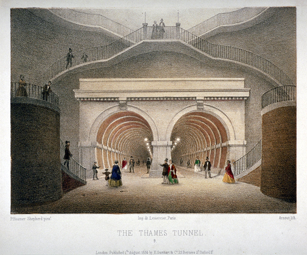 Detail of View of the entrance to the Thames Tunnel, London by Jules Louis Arnout