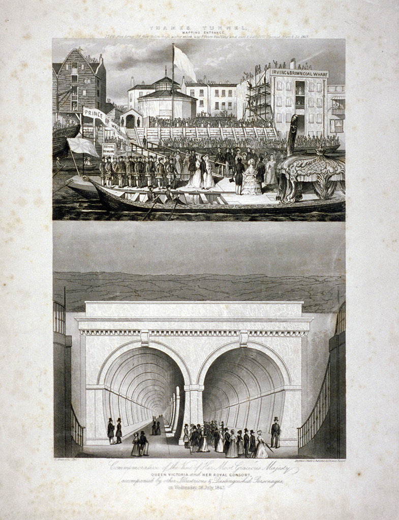 Two Views Of The Thames Tunnel Commemorating The Visit By Queen Victoria London Posters