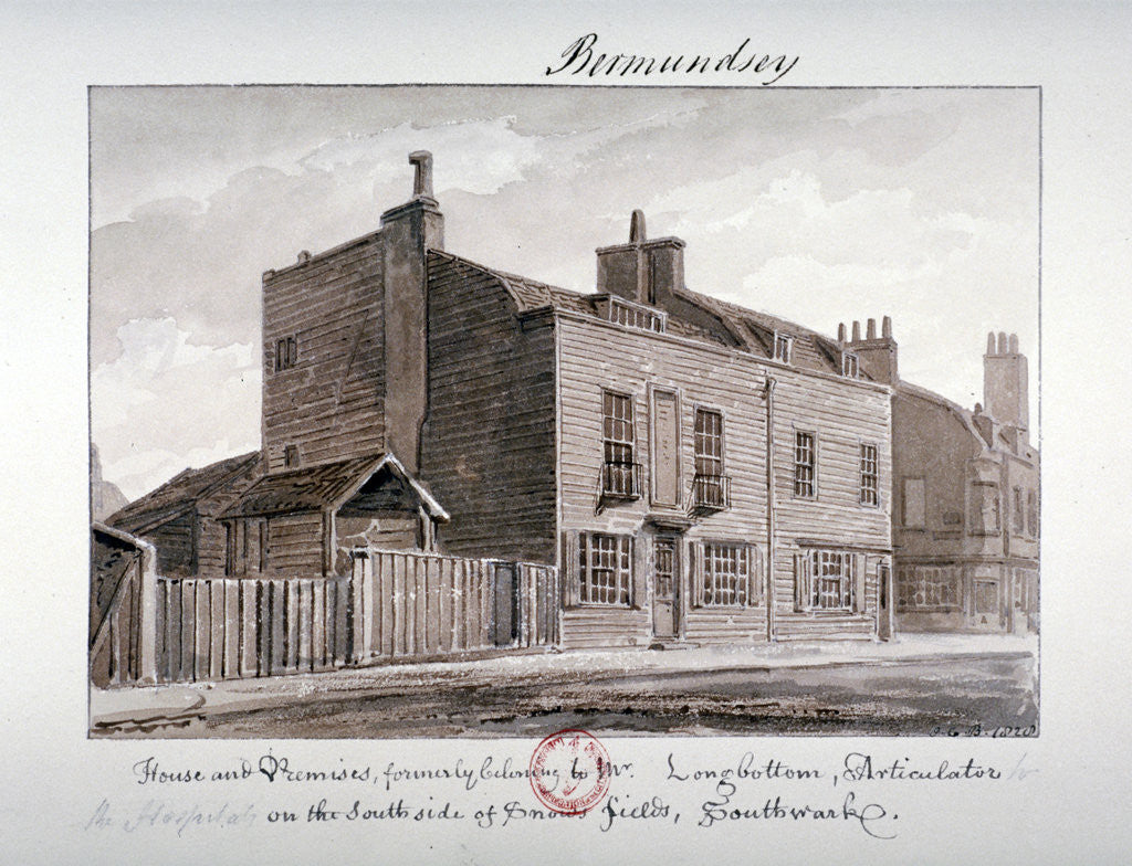 Detail of View of houses on the south side of Snowsfields, Bermondsey, London by