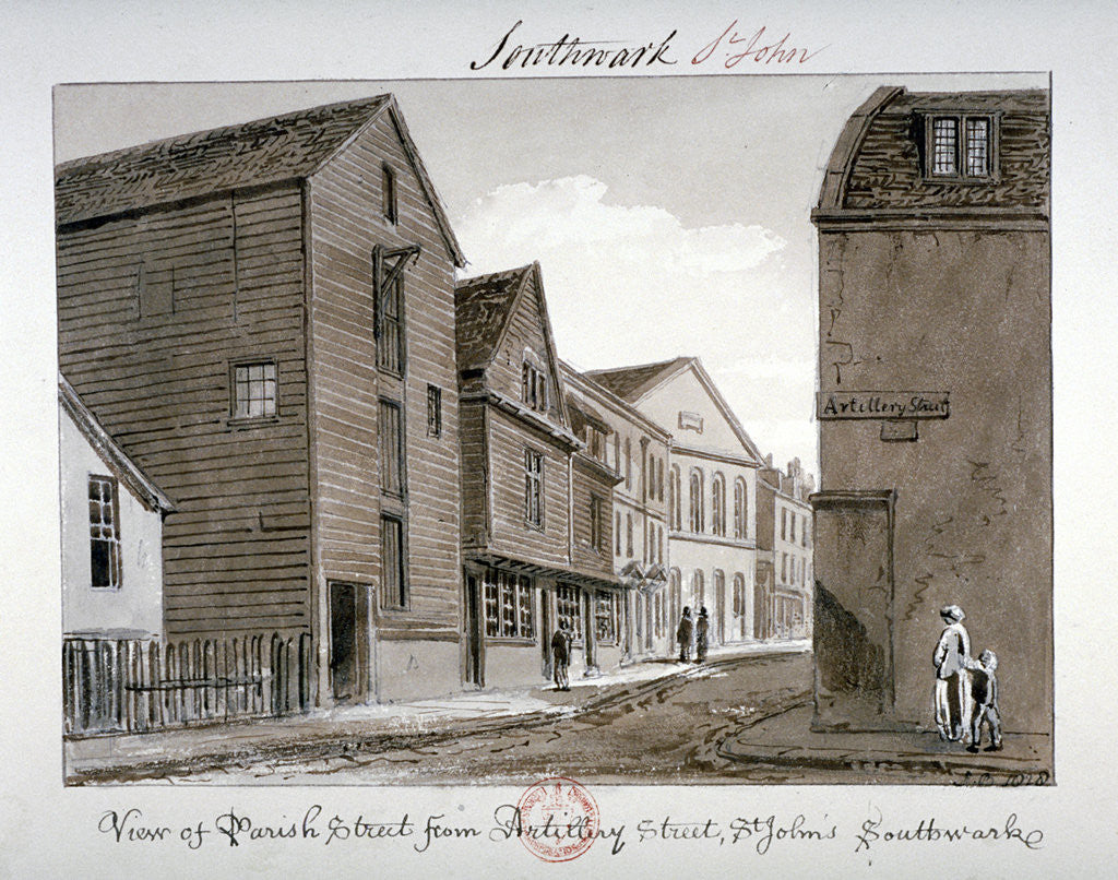 Detail of View of Parish Street and Artillery Street, Bermondsey, London by John Chessell Buckler