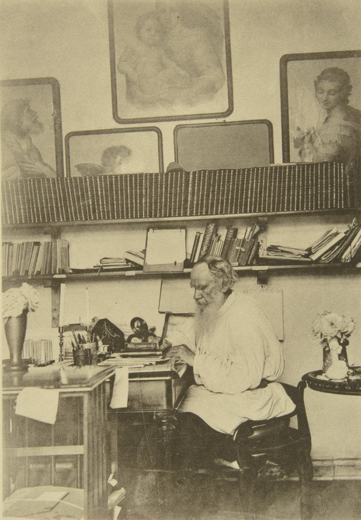 Detail of Russian author Leo Tolstoy at work, 1890s by Sophia Tolstaya