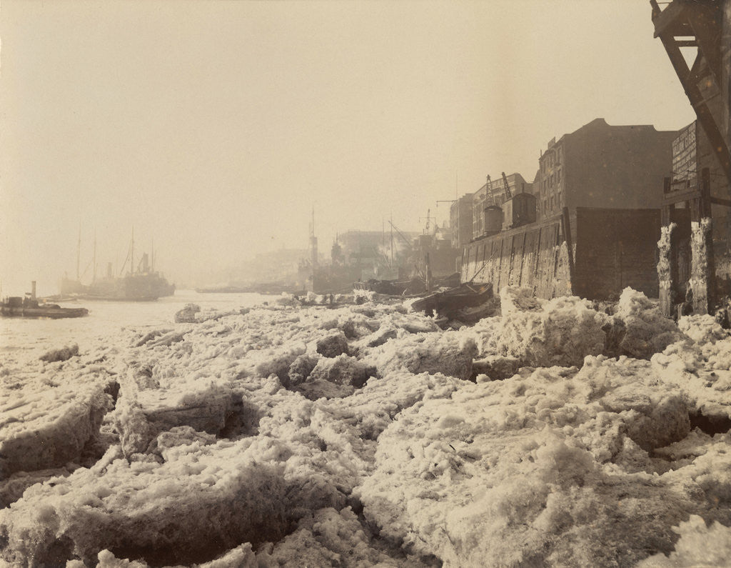 Detail of View of the Thames above Limehouse, London, during the frost of February 1895. by Anonymous