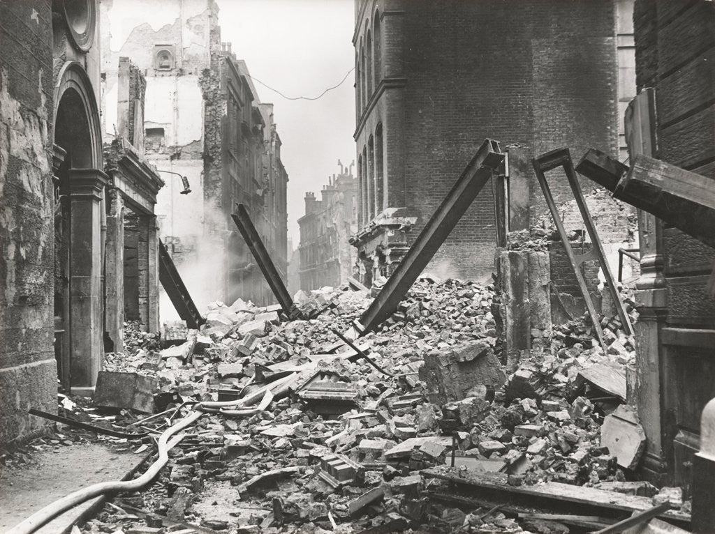 Detail of View looking south down Walbrook after an air raid, City of London, World War II by Anonymous