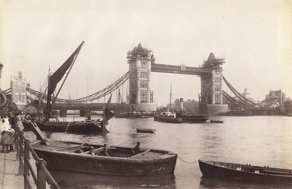 Detail of View of Tower Bridge under construction with river traffic in the foreground, London by Anonymous