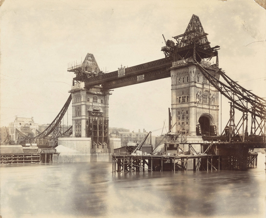 Tower Bridge under construction, London by Anonymous