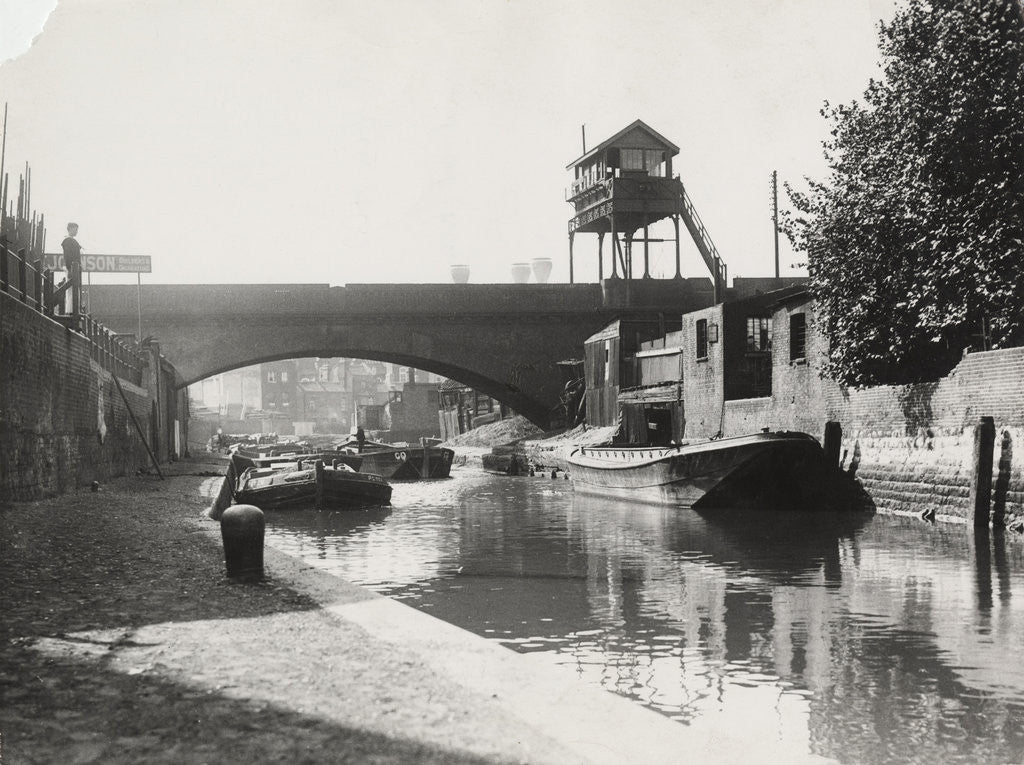 Detail of Limehouse Cut looking south from Commercial Road, Stepney, London by