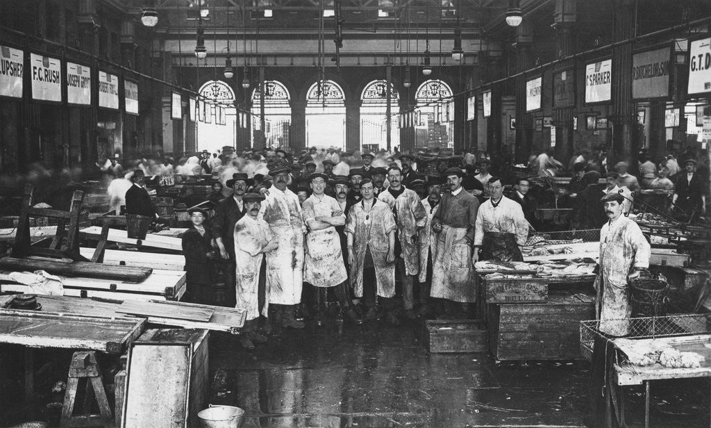 Detail of The interior of Billingsgate Market showing fishmongers and their stalls, London by Anonymous