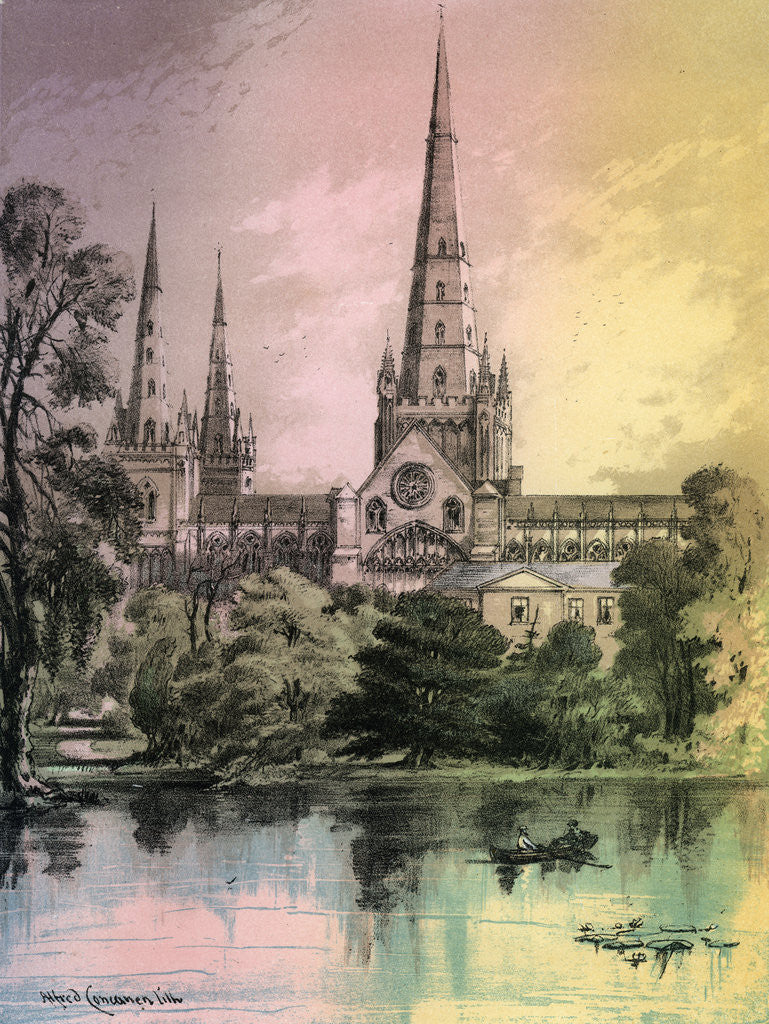 Detail of Lichfield Cathedral, Staffordshire by Alfred Concanen