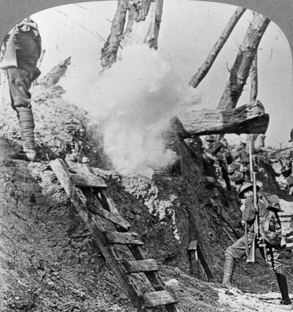 Detail of British troops going over the top, Flanders, Belgium, World War I by Realistic Travels Publishers