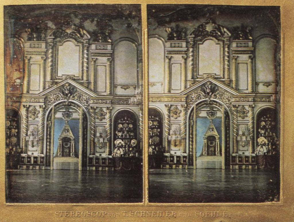 Detail of Throne Hall in the Moscow Kremlin, Russia, 1861. by Wilhelm Schneider