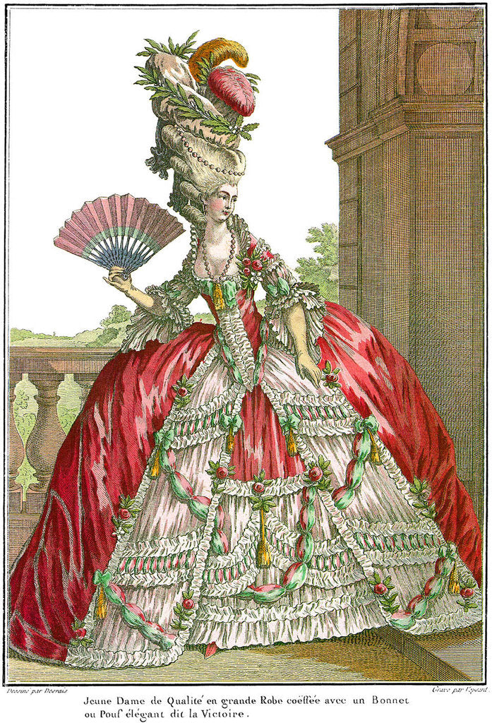 Detail of French court dress with wide panniers, 1778 by Anonymous