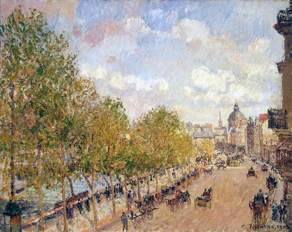 Detail of Quai Malaquais, Sunny Afternoon by Camille Pissarro