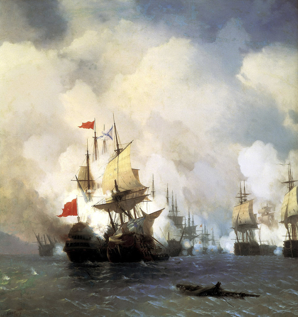 The Naval Battle of Chesma on 5th July 1770, 1848 by Anonymous