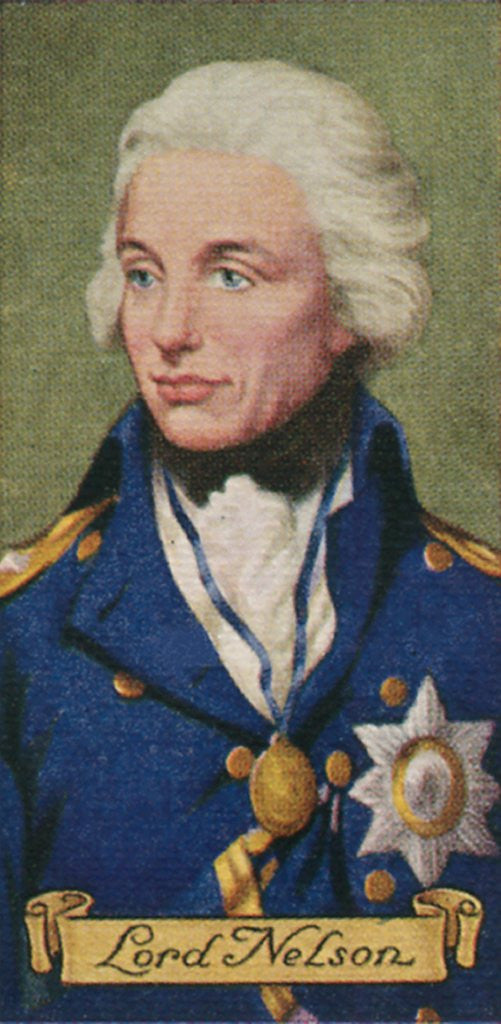 Detail of Lord Nelson, taken from a series of cigarette cards by Anonymous