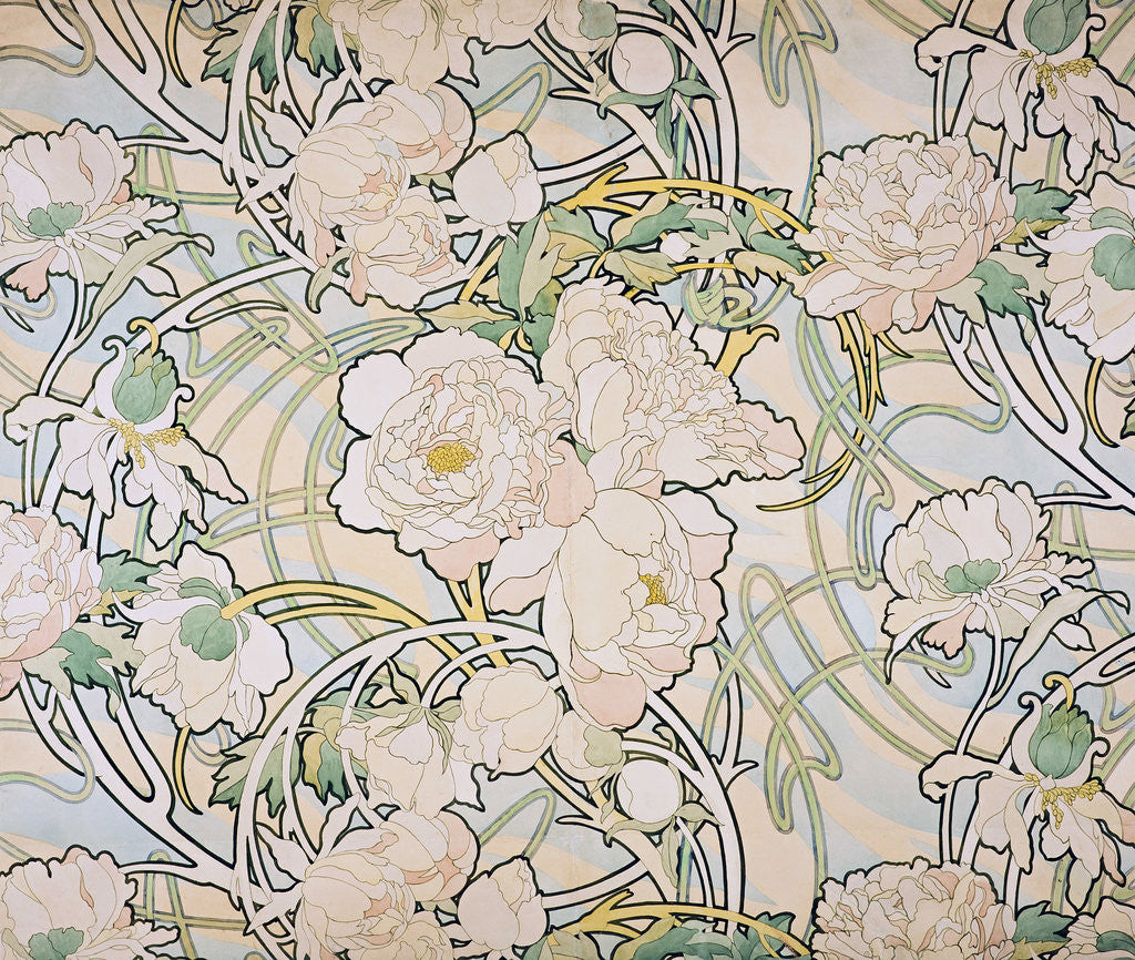 Detail of Peonies by Alfons Marie Mucha