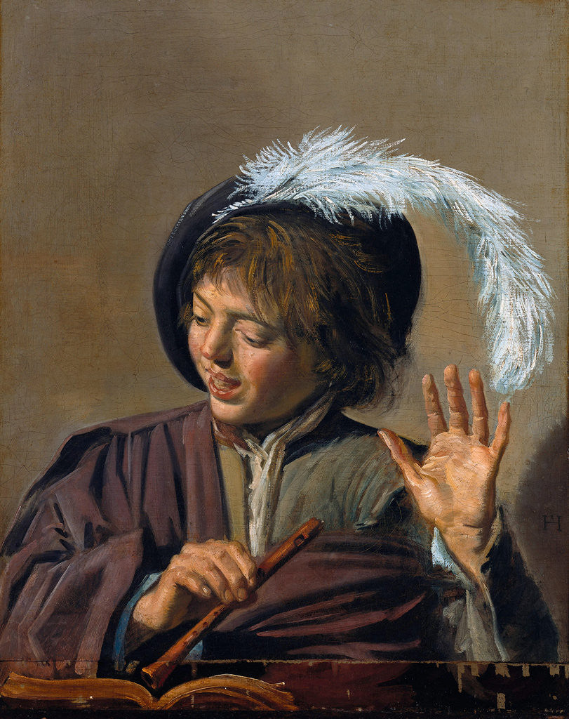 Detail of Singing Boy with Flute by Frans Hals I