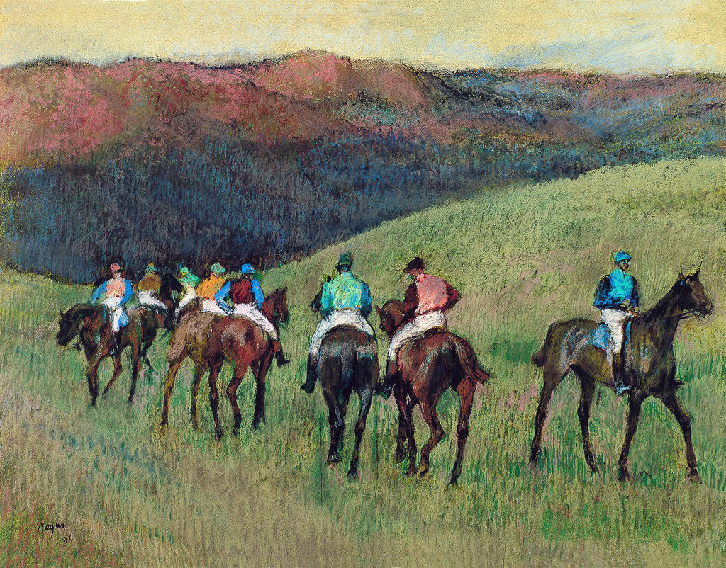 Detail of Racehorses in a Landscape by Edgar Degas