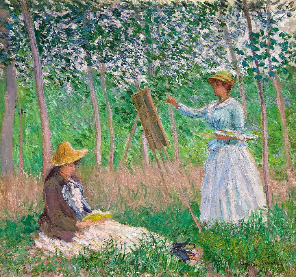 Detail of In the Woods at Giverny: Blanche Hoschedé at Her Easel with Suzanne Hoschedé Reading by Claude Monet
