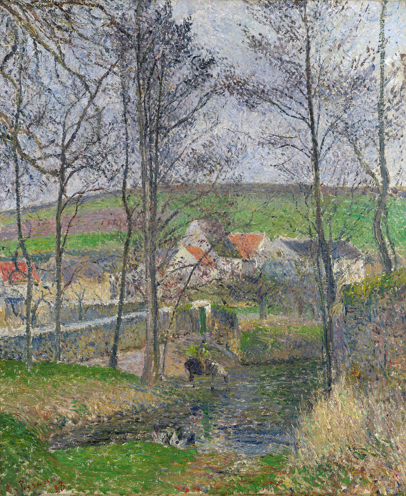Detail of The banks of the Viosne at Osny in grey weather by Camille Pissarro