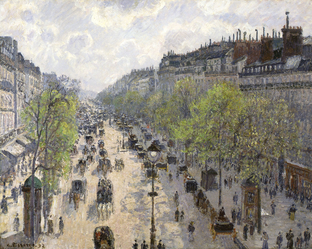 Detail of Boulevard Montmartre, Spring by Camille Pissarro