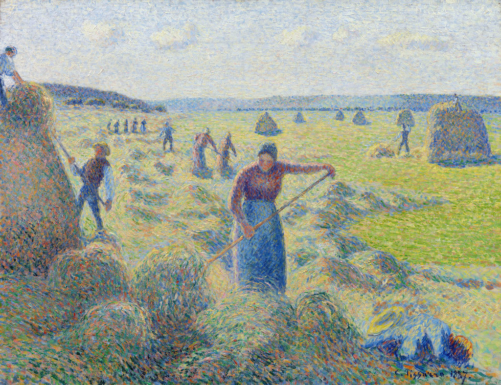 Detail of The haymaking, Éragny by Camille Pissarro