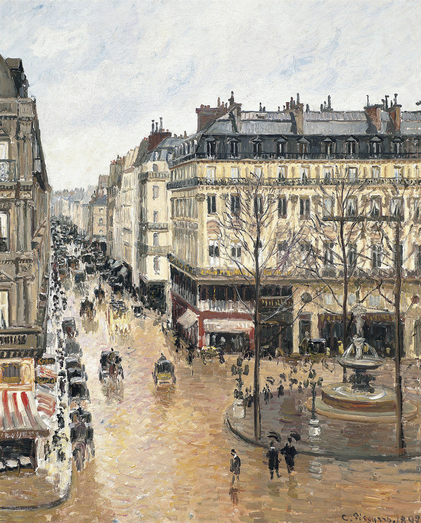 Detail of Rue Saint-Honoré in the Afternoon. Effect of Rain by Camille Pissarro