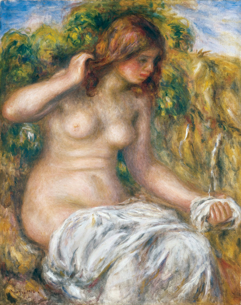 Detail of Woman by Spring by Pierre-Auguste Renoir