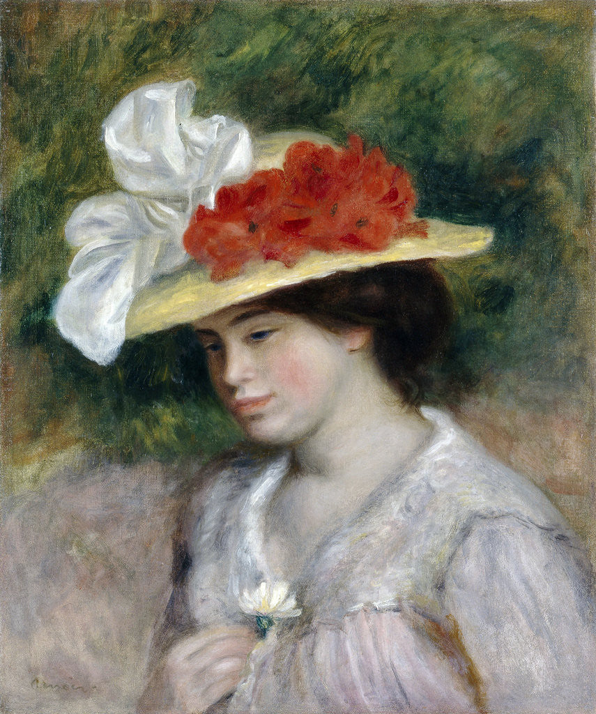 Detail of Woman in a Flowered Hat by Pierre-Auguste Renoir