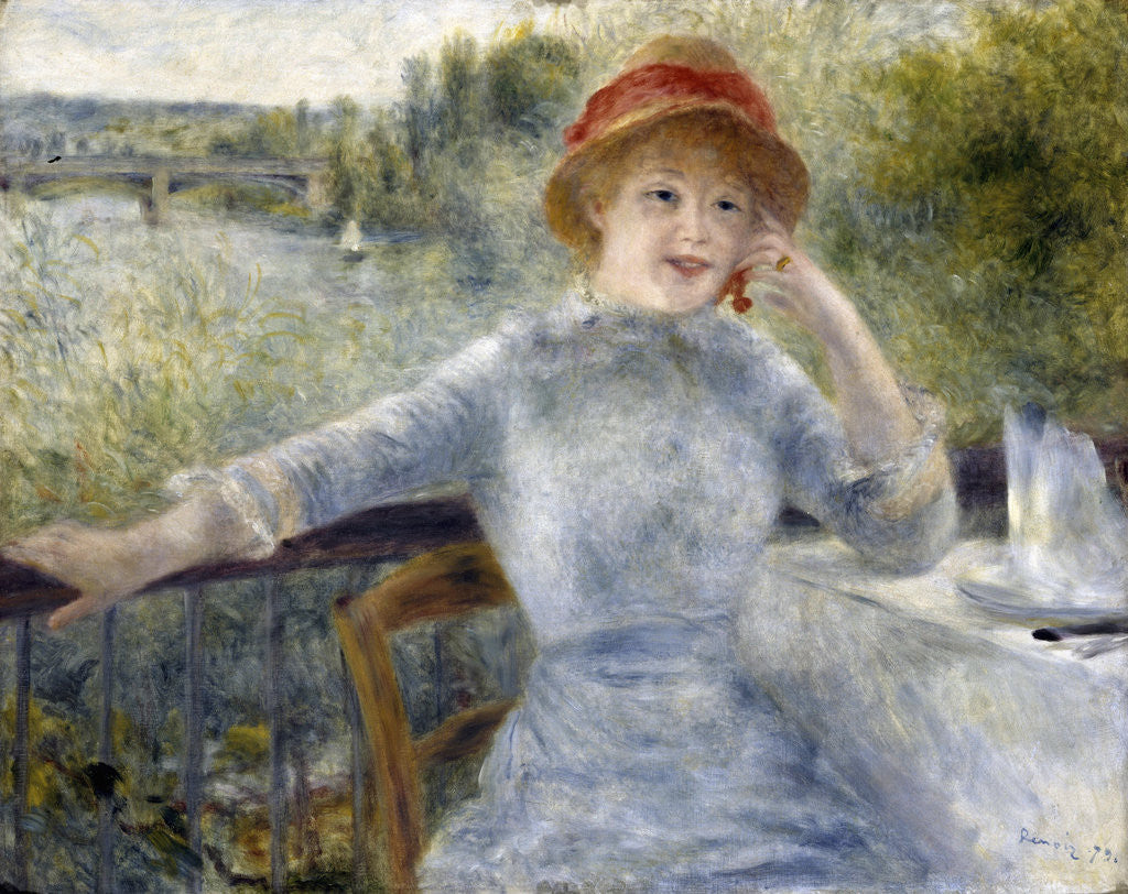 Detail of Alphonsine Fournaise by Pierre-Auguste Renoir
