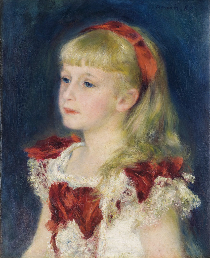 Detail of Mademoiselle Grimprel au ruban rouge by Pierre-Auguste Renoir
