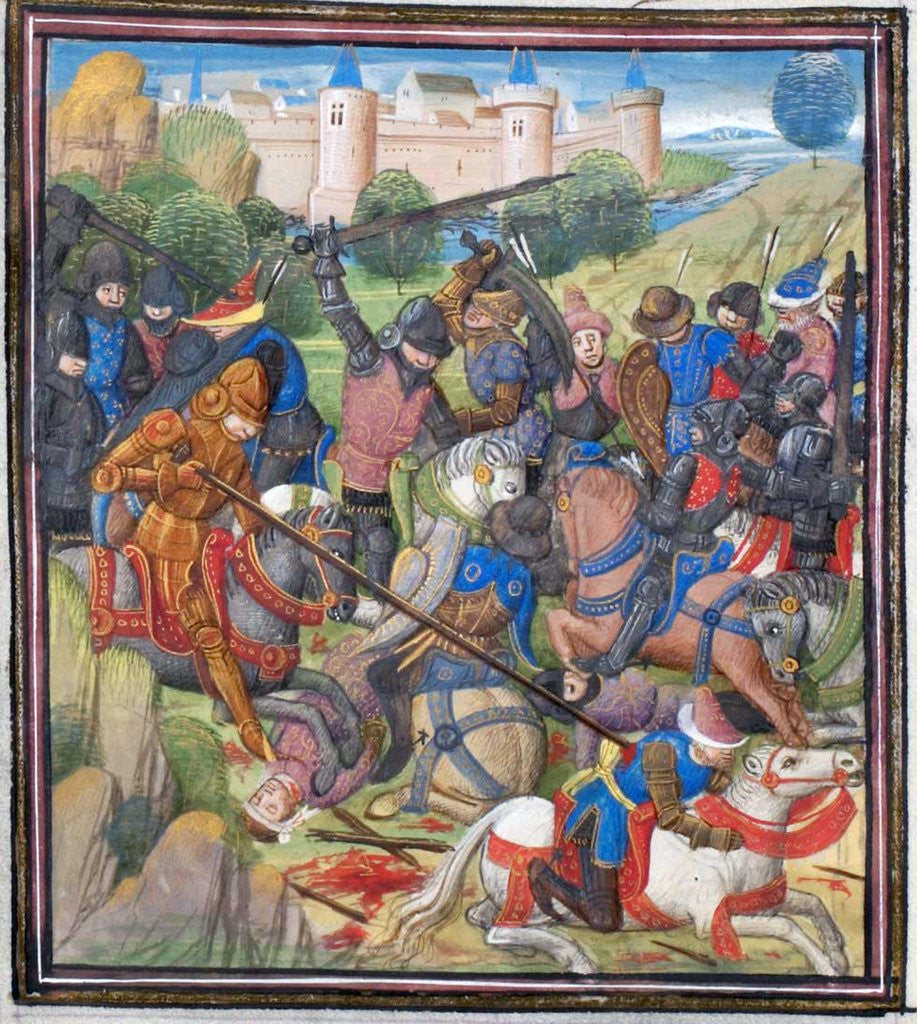 Detail of Battle between Crusaders under Baldwin II of Jerusalem and the Saracens. Miniature from the Historia by William of Tyre by Anonymous