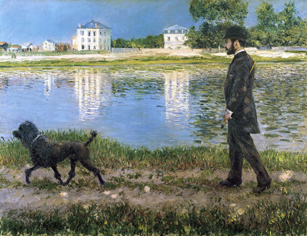 Detail of Richard Gallo and His Dog at Petit Gennevilliers by Gustave Caillebotte
