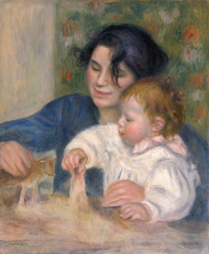 Detail of Gabrielle Renard and infant son, Jean by Pierre-Auguste Renoir