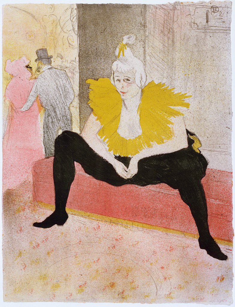Detail of Seated Clowness (Mademoiselle Cha-u-ka-o) by Henri de Toulouse-Lautrec