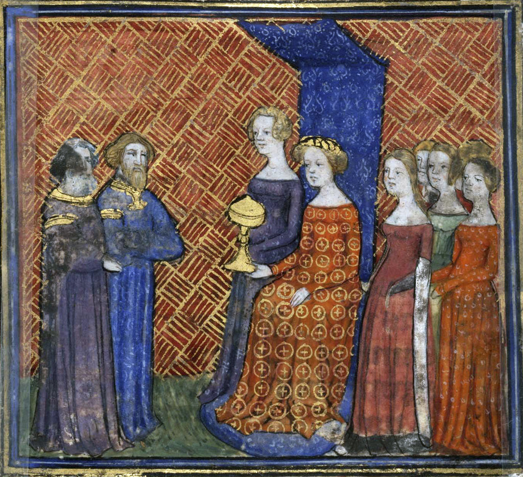 Detail of King Solomon Receiving the Queen of Sheba (from the Bible historiale by Guiart des Moulins) by Virgil Master