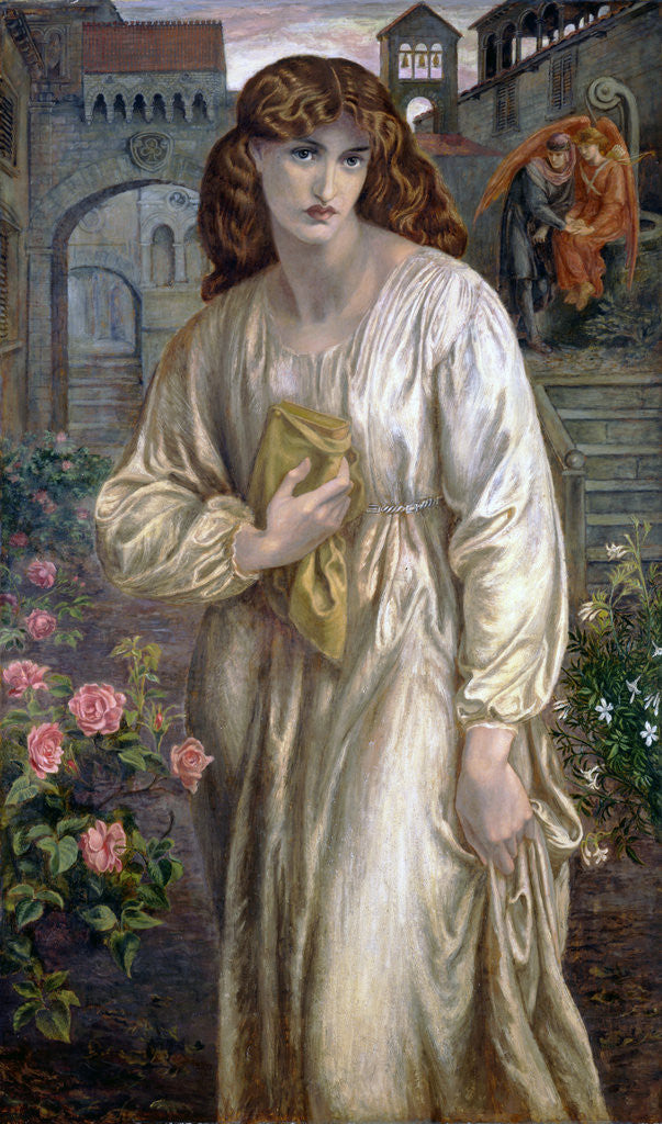 Detail of Salutation of Beatrice by Dante Gabriel Rossetti