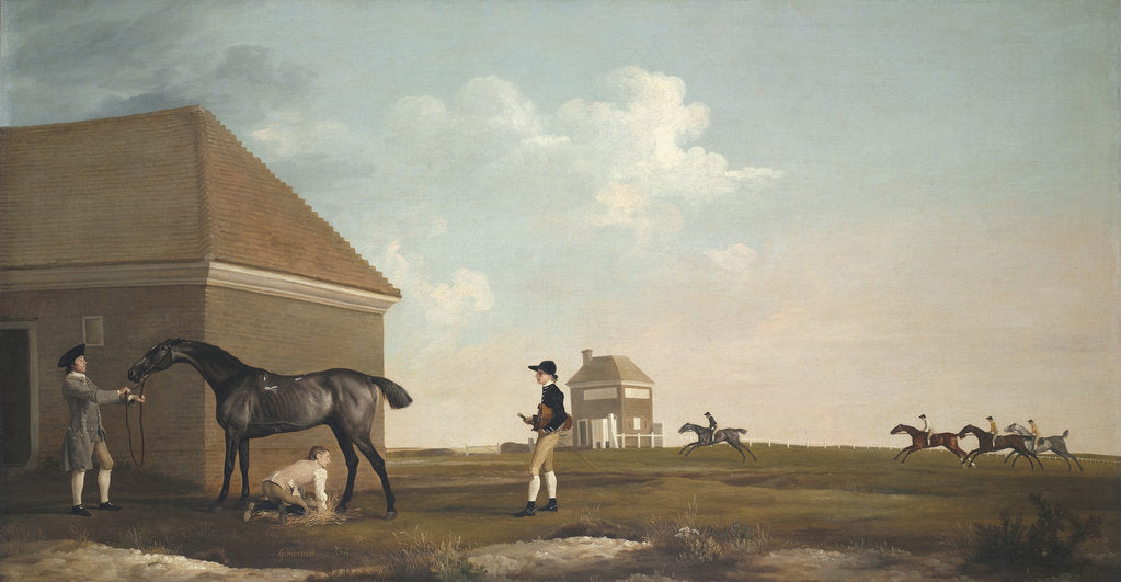 Detail of Gimcrack on Newmarket Heath, with a Trainer, a Stable-Lad, and a Jockey, 1765 by George Stubbs