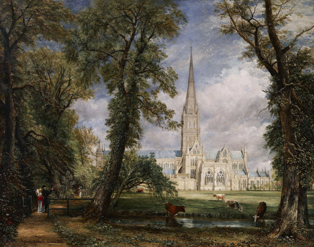 Detail of Salisbury Cathedral from the Bishop's Garden by John Constable