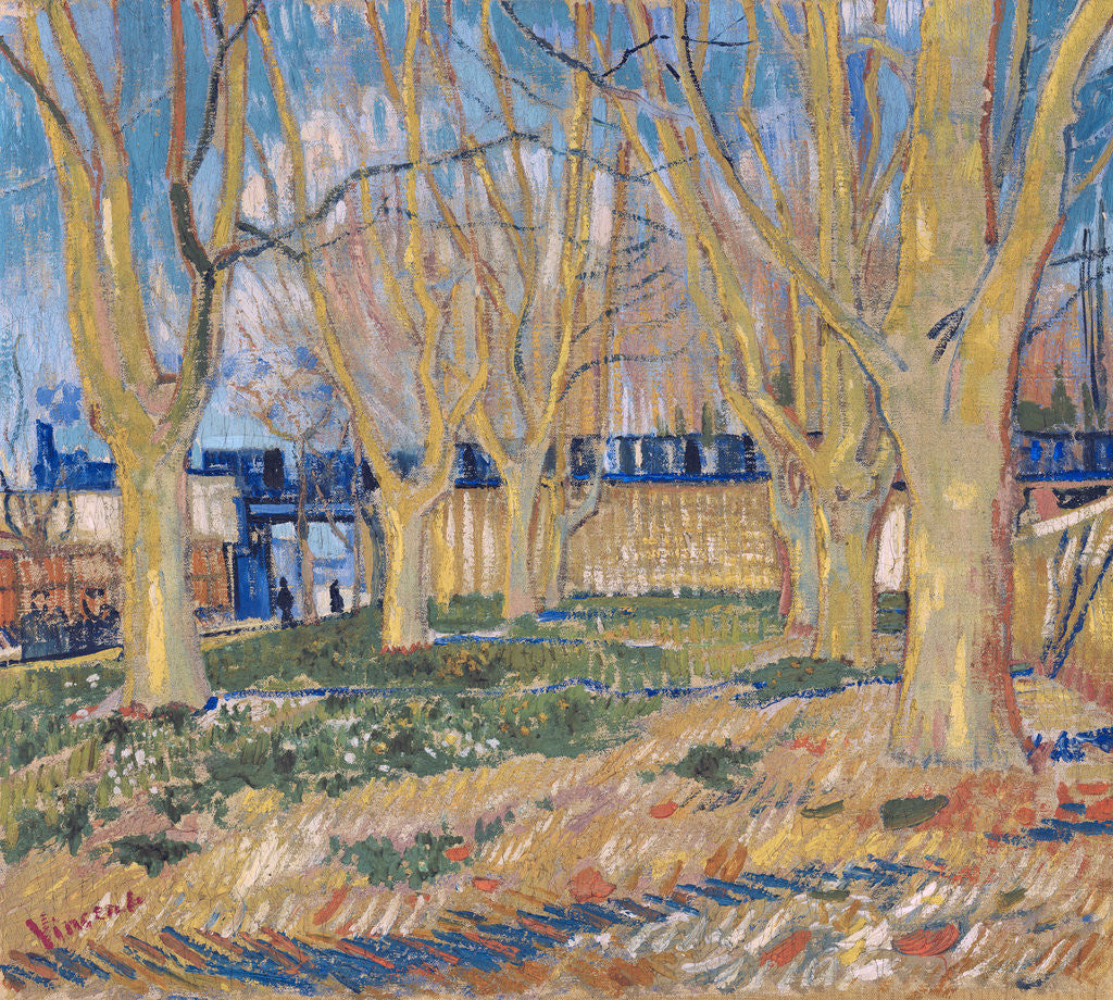Detail of The viaduct in Arles. The blue train by Vincent Van Gogh