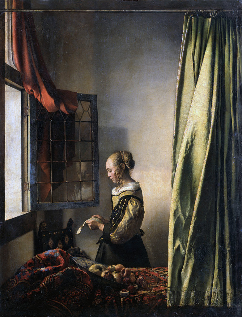 Detail of Girl Reading a Letter by an Open Window by Jan Vermeer
