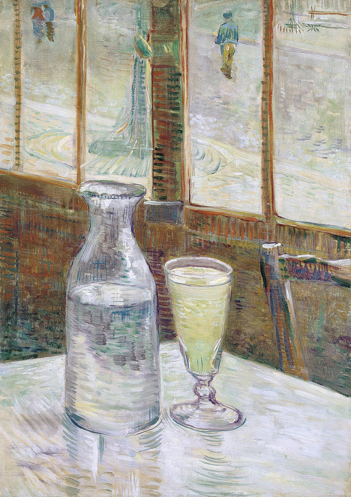 Detail of Café table with absinth by Vincent Van Gogh