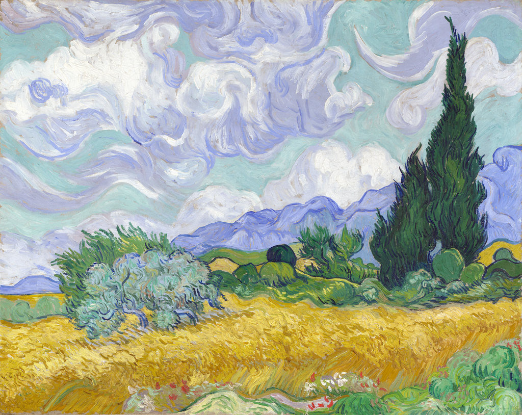 Detail of A Wheatfield, with Cypresses by Vincent Van Gogh