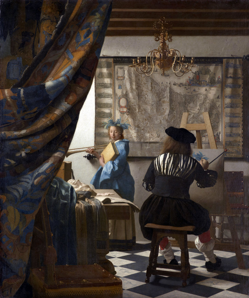 Detail of The Art of Painting (The Allegory of Painting) by Jan Vermeer