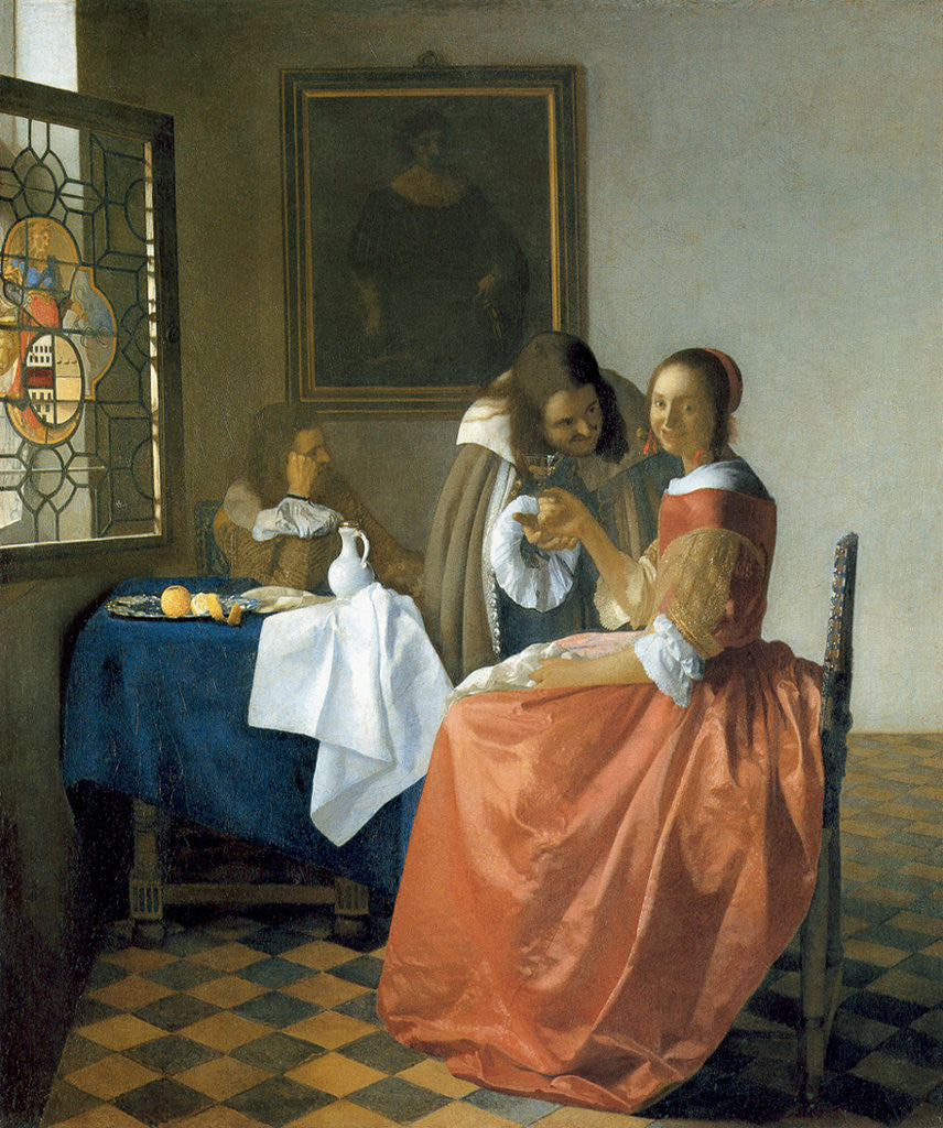 Detail of The Girl with the Wineglass by Jan Vermeer