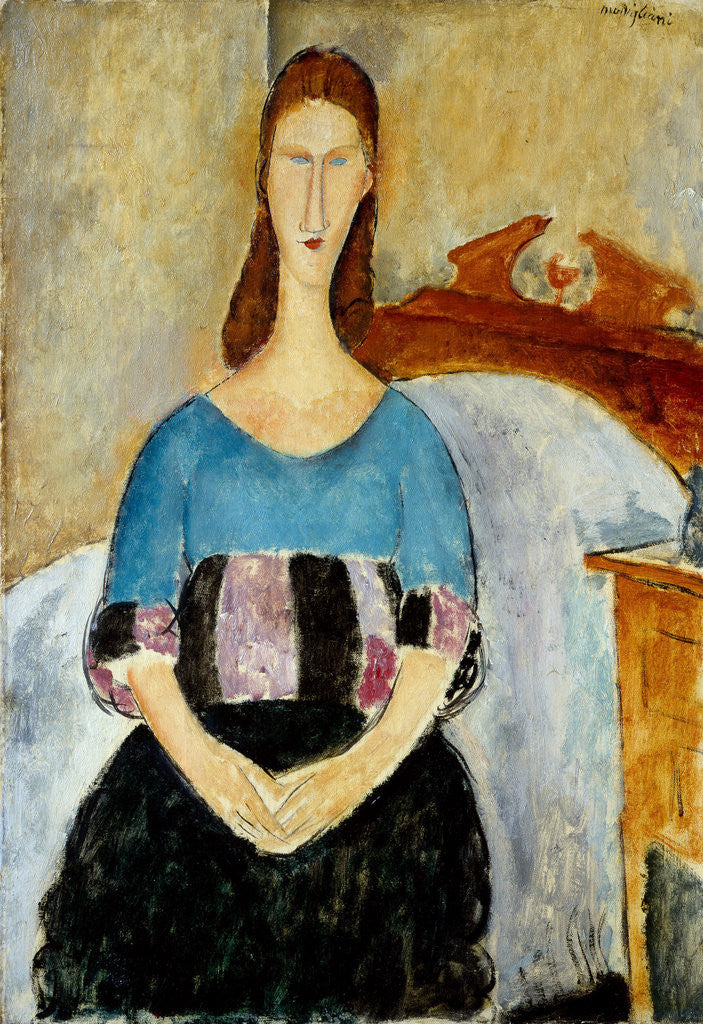 Detail of Portrait of Jeanne Hébuterne by Amedeo Modigliani