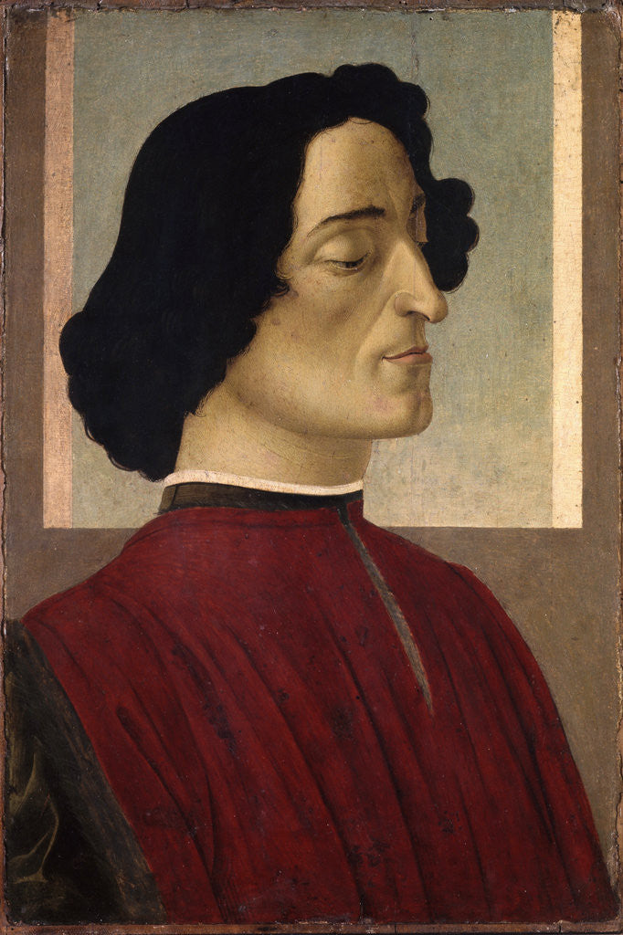 Detail of Portrait of Giuliano de' Medici by Sandro Botticelli