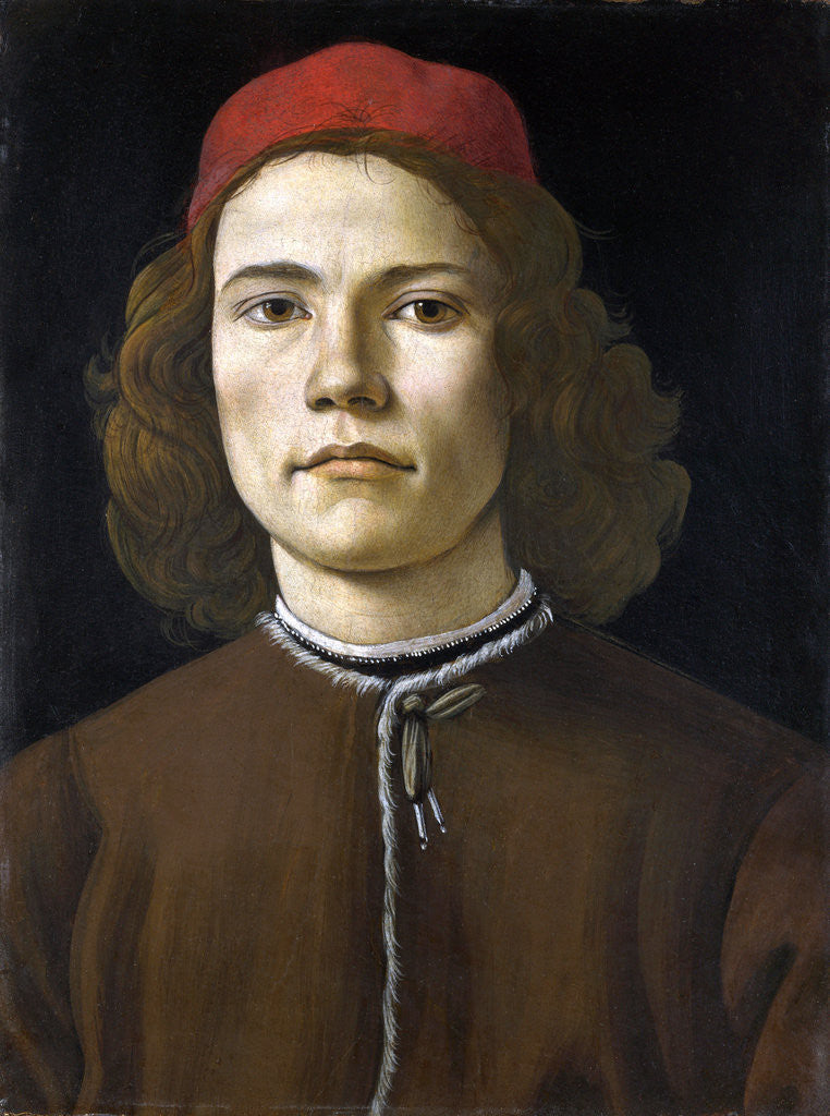 Detail of Portrait of a Young Man by Sandro Botticelli